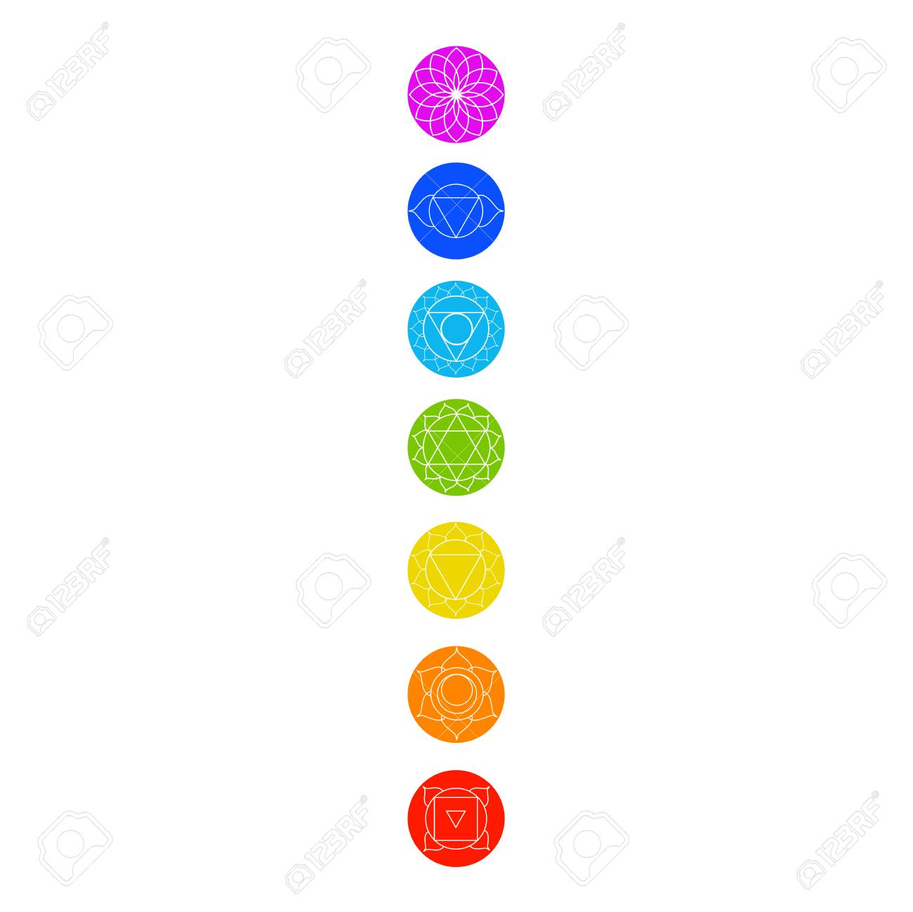 Chakra icons with respective colors, names and their meanings - 90234372