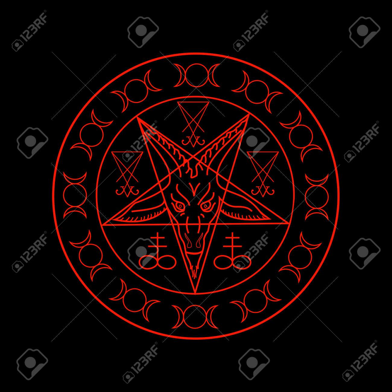 Wiccan symbols- Cross of Sulfur, Triple Goddess, Sigil of Baphomet
