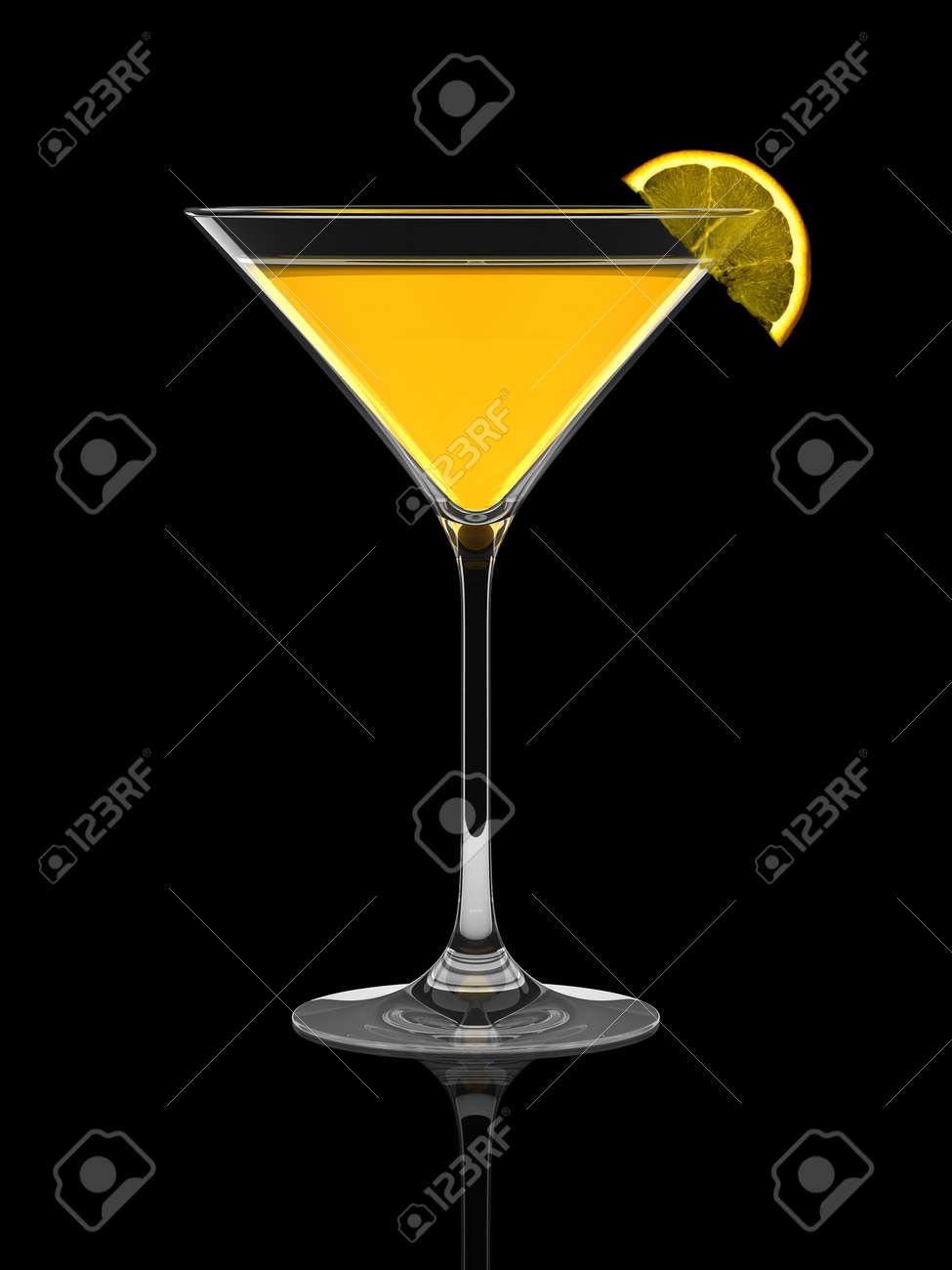 Fresh summer cocktail with orange slice over black background Stock Photo - 6639873