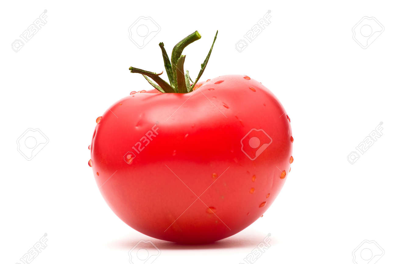 Beautiful single red tomato over white background Stock Photo - 6731550