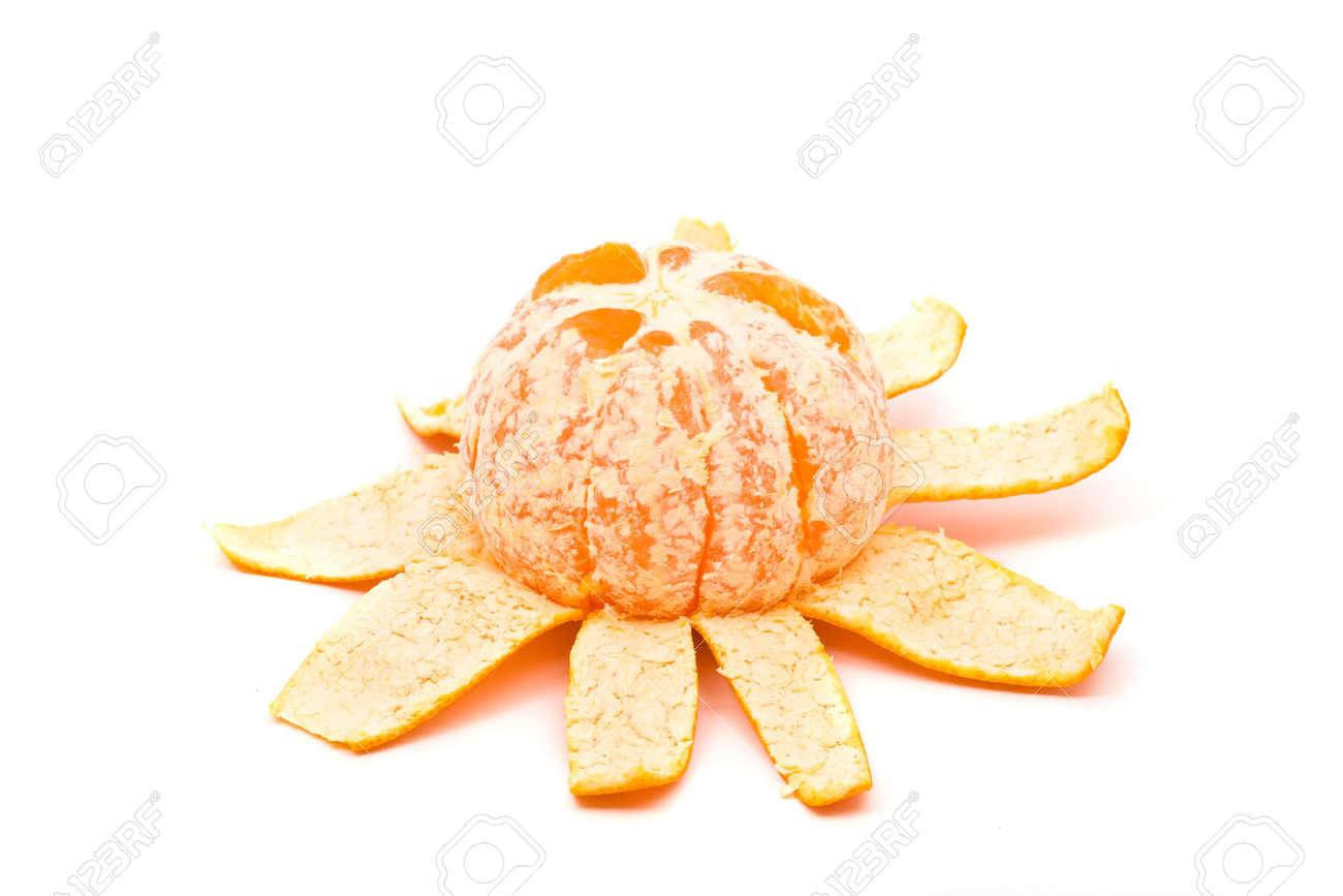Sequence of single orange unfolding over white background Stock Photo - 6805432