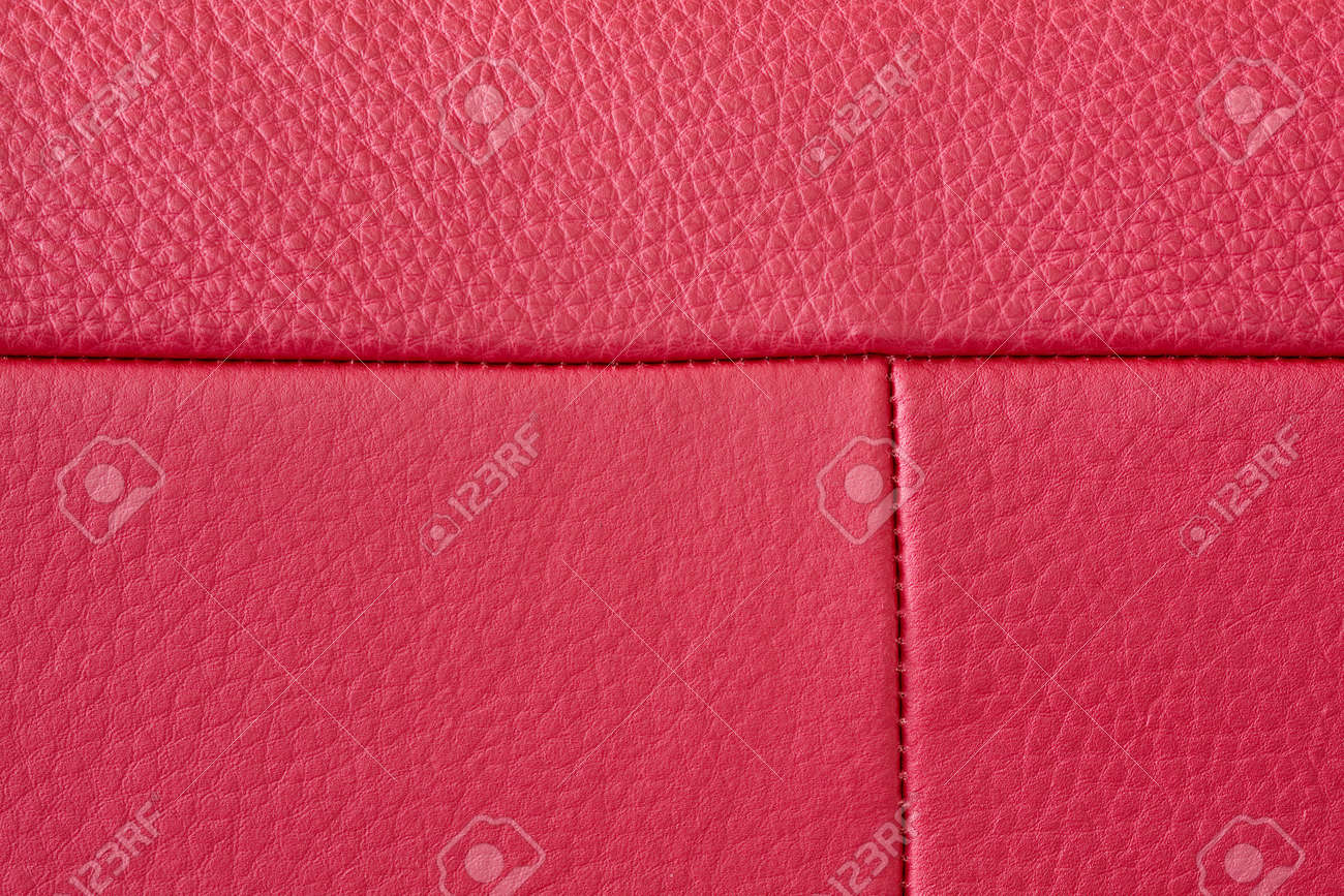 Close up of red leather texture with stitching Stock Photo - 7972129