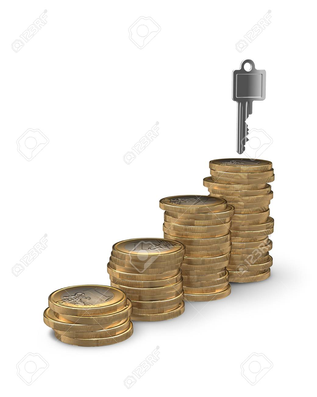 Stairway of coins leading to key to your home - home owning or financing concept Stock Photo - 7972138