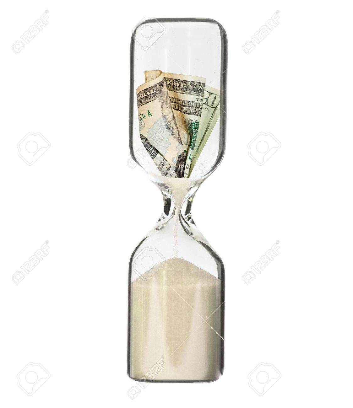 Dollar bill in hour glass - recession or financial loss concept Stock Photo - 7972145
