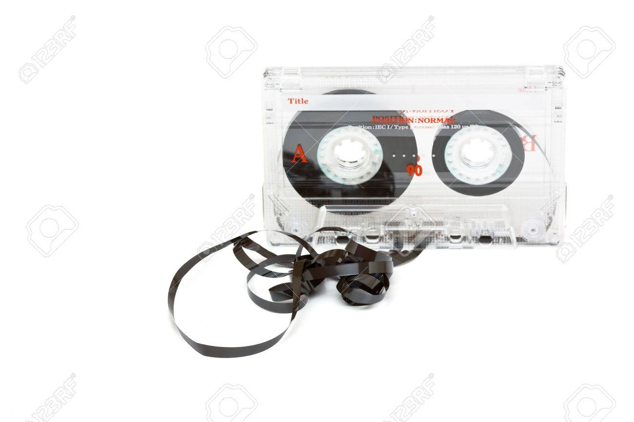 Transparent audio cassette with pulled out tape over white background Stock Photo - 8031201