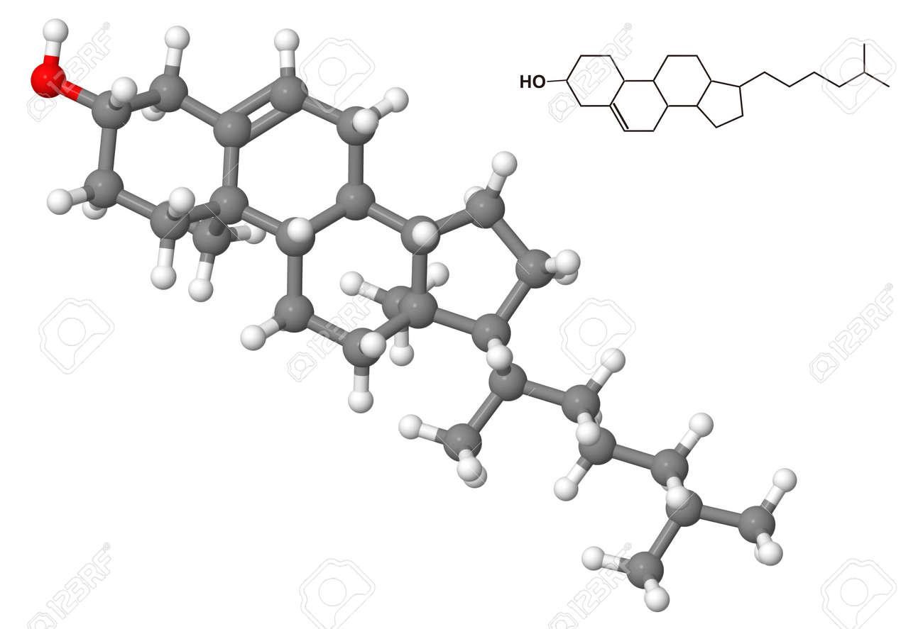 Cholesterol molecule with chemical formula isolated on white background Stock Photo - 8879748