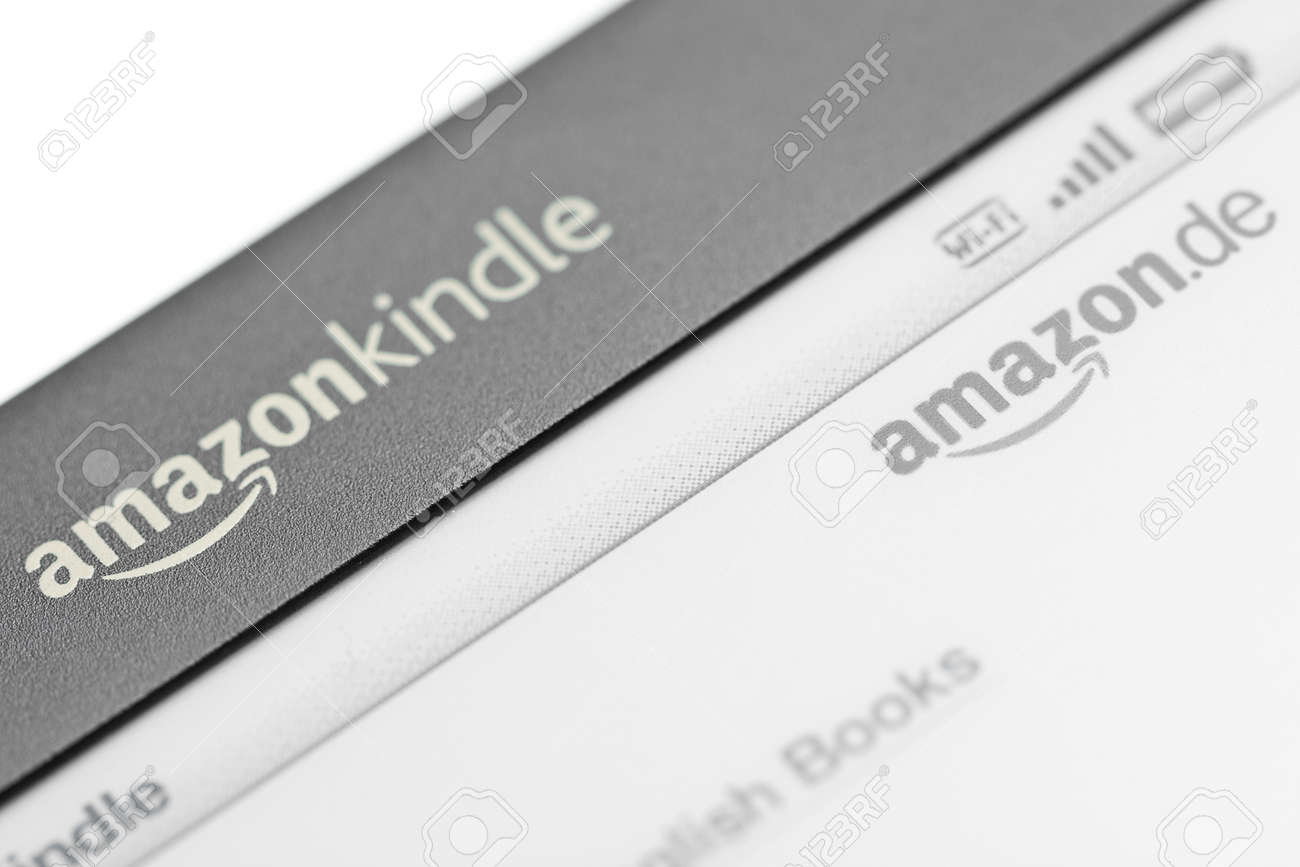 Munich, Germany - June 28th, 2011: Close up of the logo of the Amazon Kindle 3 3G showing logo of the Amazon Kindle Shop. Amazon released the Kindle 3 in Germany in April 2011 Stock Photo - 9890637