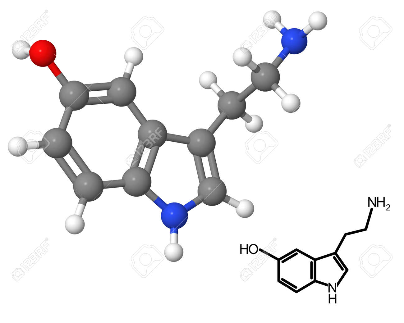 Serotonin Molecule With Chemical Formula Isolated On White ...