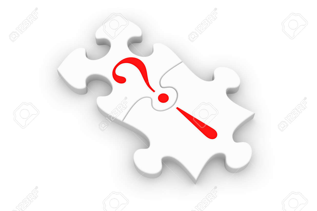 puzzle pieces connecting question and answer stock photo picture