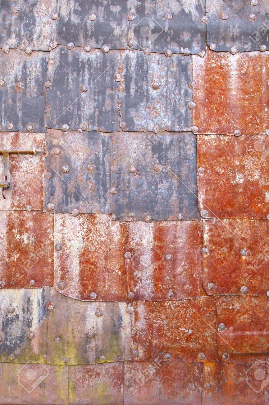 Rusty grunge metal sheets texture with red and blue colorization Stock Photo - 13041056