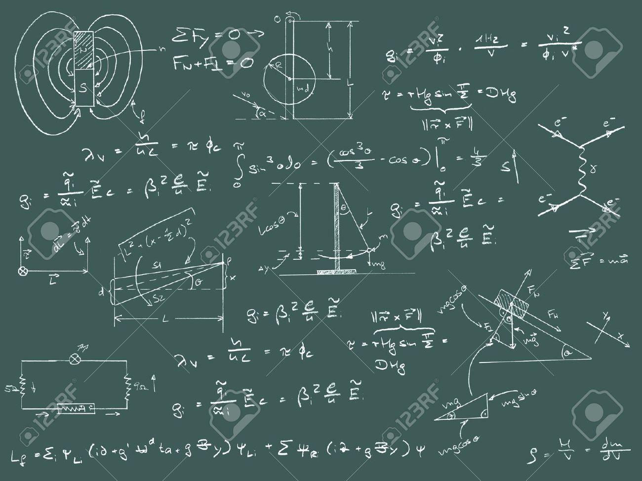 Physik Diagrammen und Formeln Kreide Handschrift auf der grünen Tafel Standard-Bild - 16063963