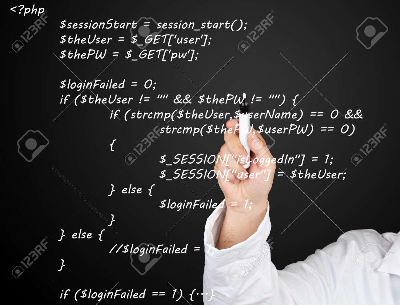 Teacher or scientist writing PHP source code from webpage on blackboard Standard-Bild - 17190387