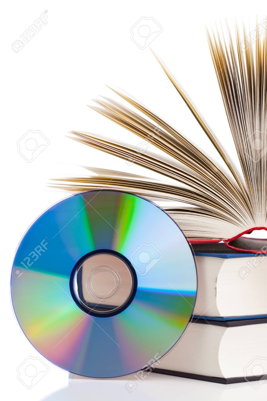 Book with compact disc over white background - e-book or digital storage concept Stock Photo - 17782735