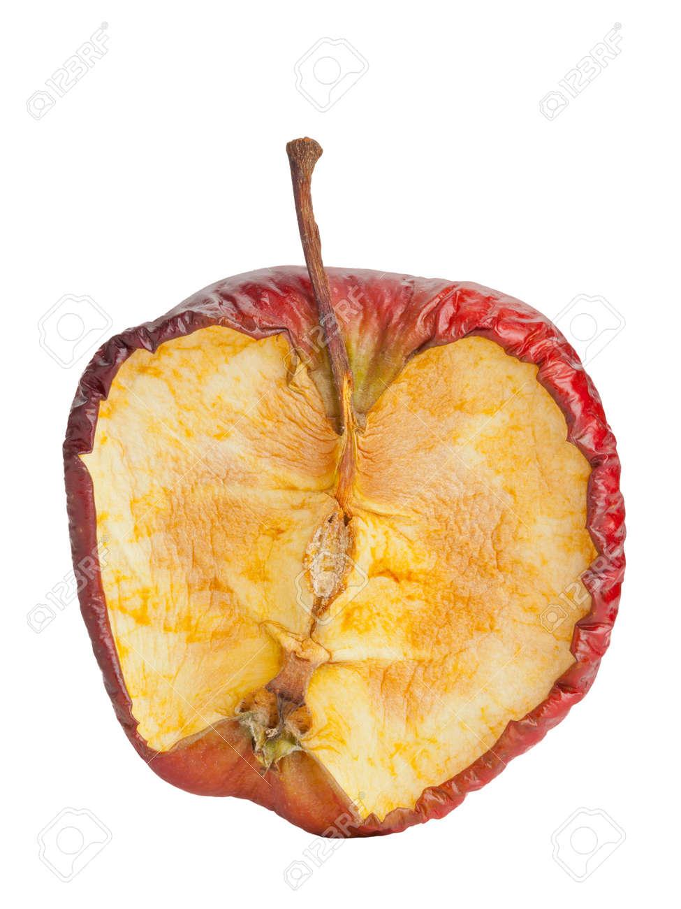 Half old dry rotten red apple on white background Standard-Bild - 17782773