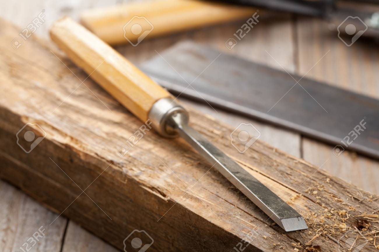 Old Woodworking Tools On Workbench In Craftsman S Shop Stock Photo