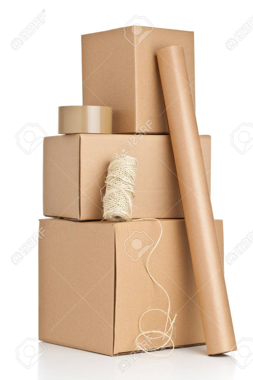 Brown carton boxes with packaging materials on white background Standard-Bild - 22944194