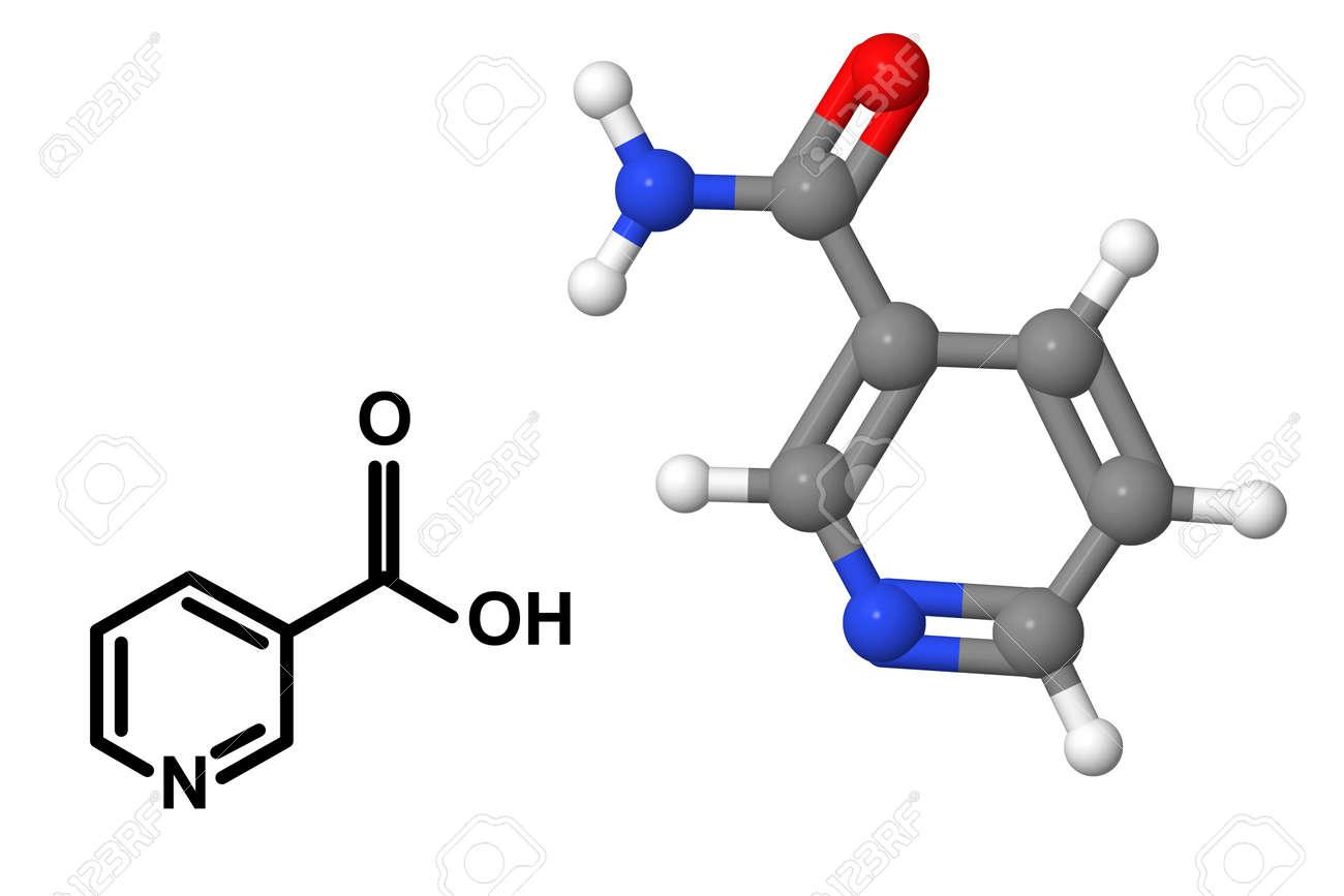 Vitamina B3 Molécula Niacina Con Fórmula Química Aislada En El Fondo Blanco