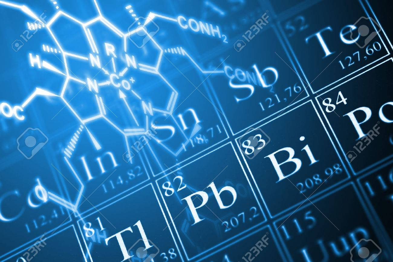 Molecule structural formula model on periodic table of the elements Standard-Bild - 23917772