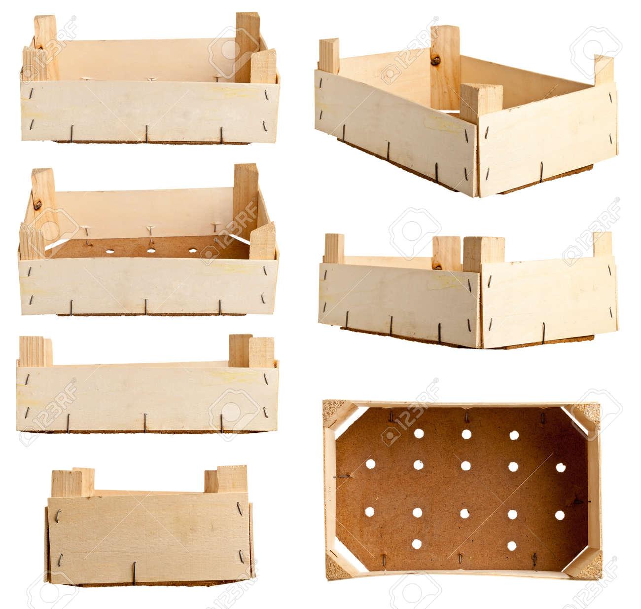 bandeja de fruta de madera o de cajas de madera reciclada diferentes variaciones aisladas sobre