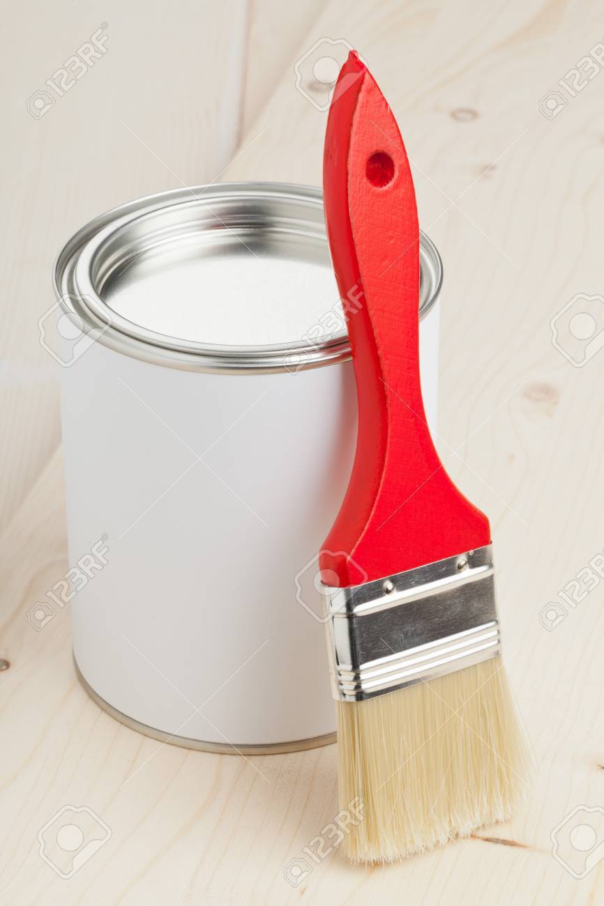 Red Paint Brush With Paint Bucket On Wooden Planks Home Renovation Stock Photo Picture And Royalty Free Image Image 24882082