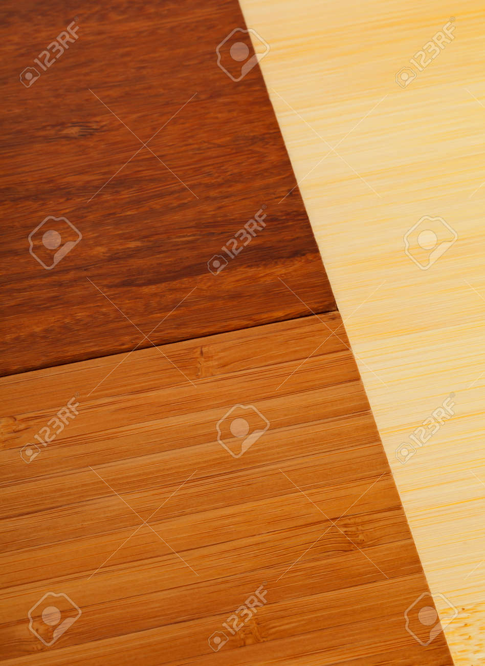 Different Light And Dark Colored Bamboo Laminate Flooring Samples Stock Photo