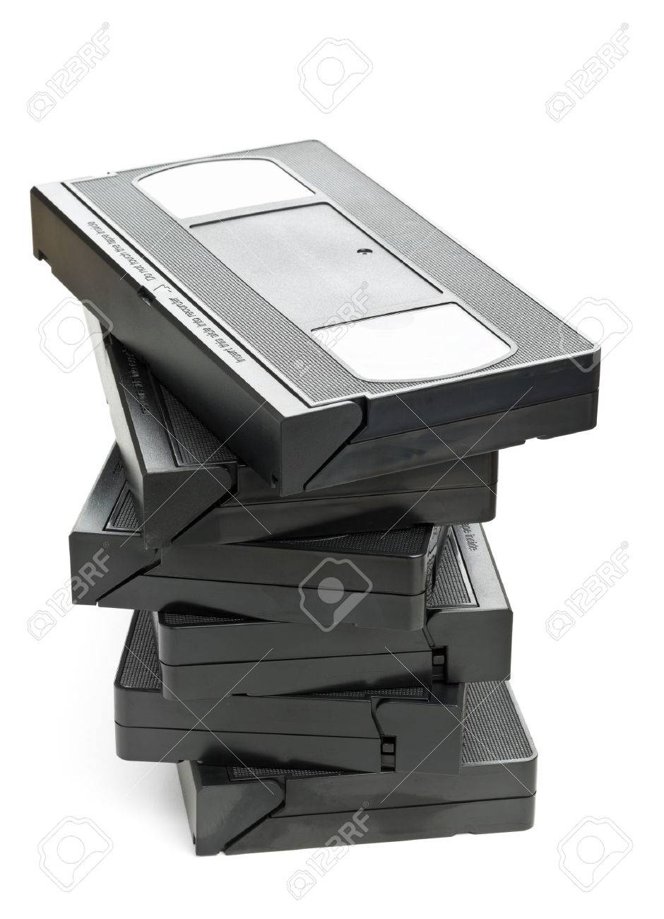 Stack Of Analog Video Home System Vhs Tape Over White Background