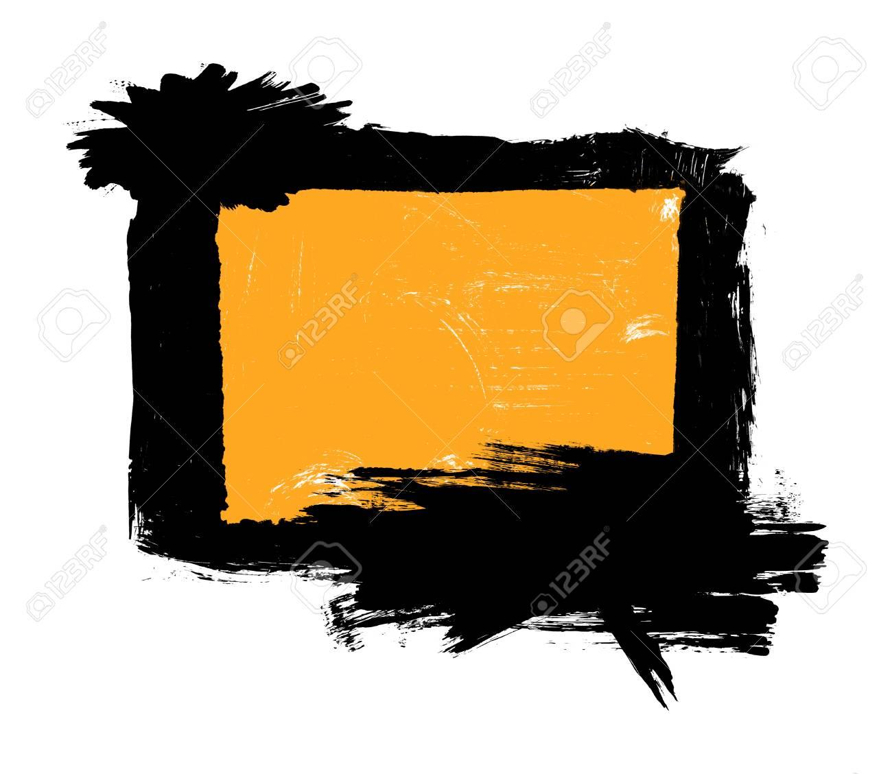 Grunge Pincel Trazos En Dificultades Fondo Naranja Rectángulo ...