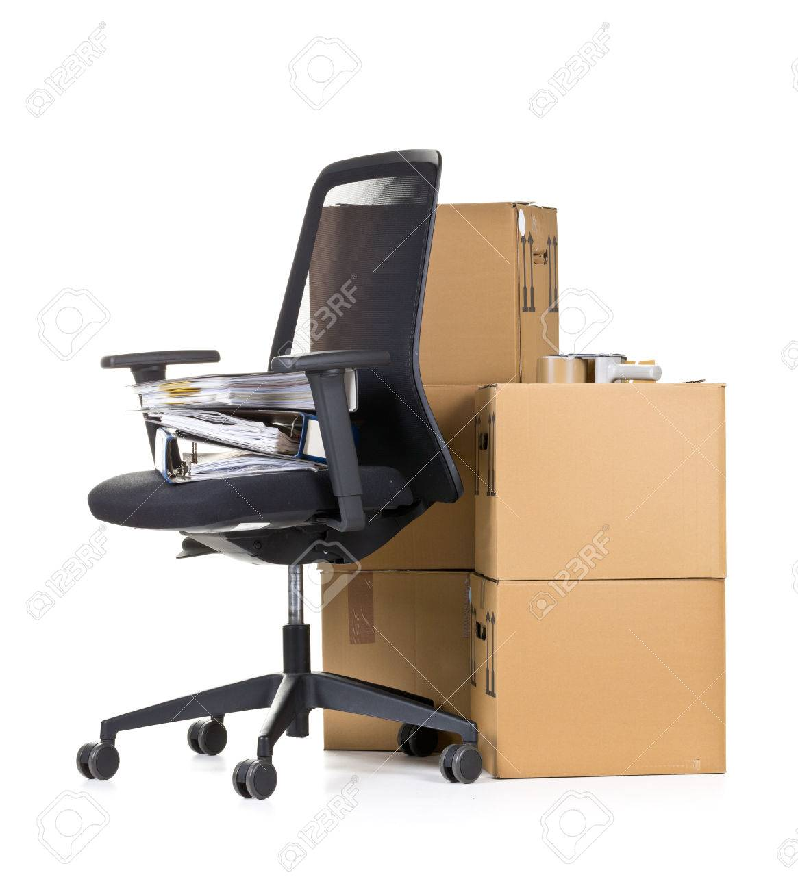 Office folder on office chair in front of moving boxes over white background - office moving or relocation concept Standard-Bild - 53884892