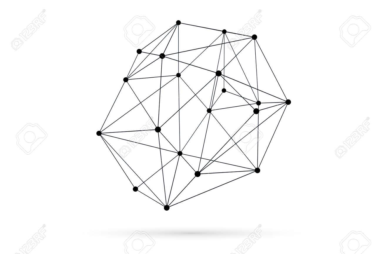 Red Tridimensional Resumen ámbito Concepto De Estructura Metálica Con Sombra Sobre Fondo Blanco