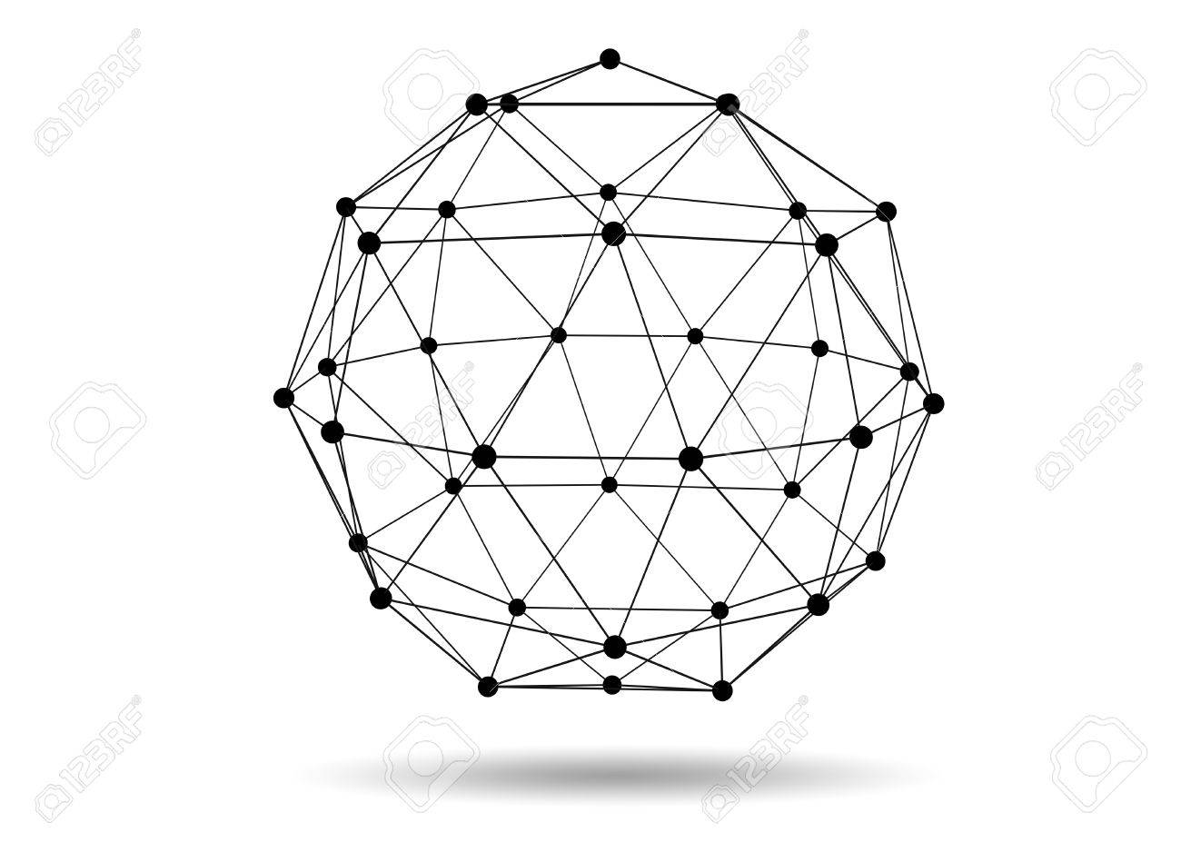Abstract Three Dimensional Network Concept Wireframe Sphere With ...