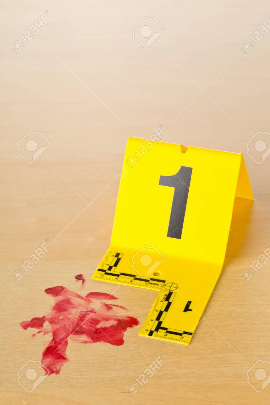 Crime Scene Investigation Csi Evidence Marker With Blood Spot Stock Photo Picture And Royalty Free Image Image 135374758