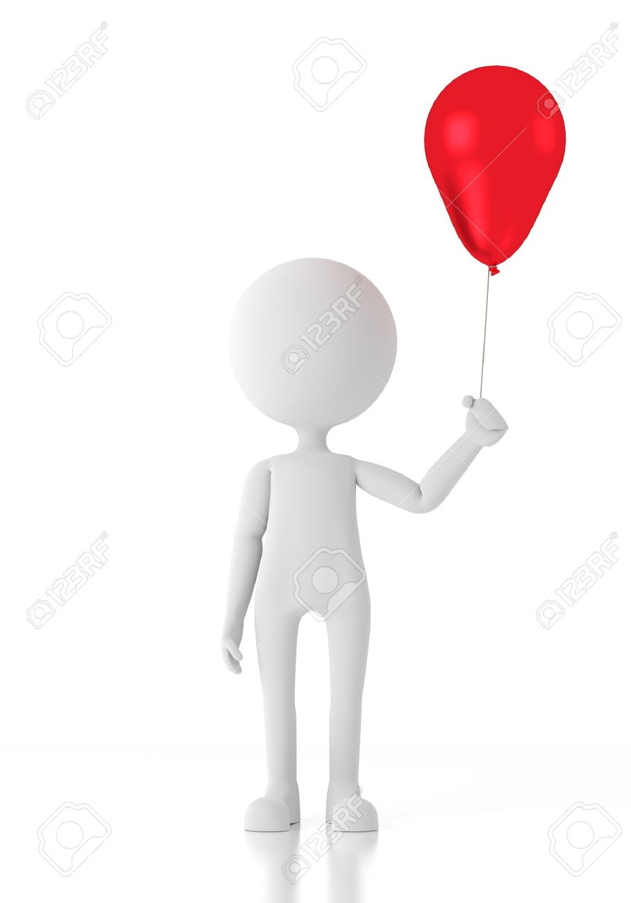3d person child holding a red balloon Stock Photo - 14736751
