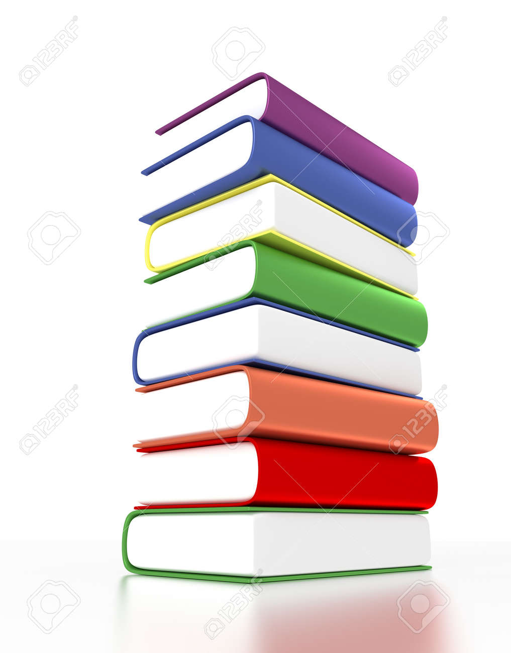 3d Pile Of Books With Different Colors Stock Photo, Picture And ...