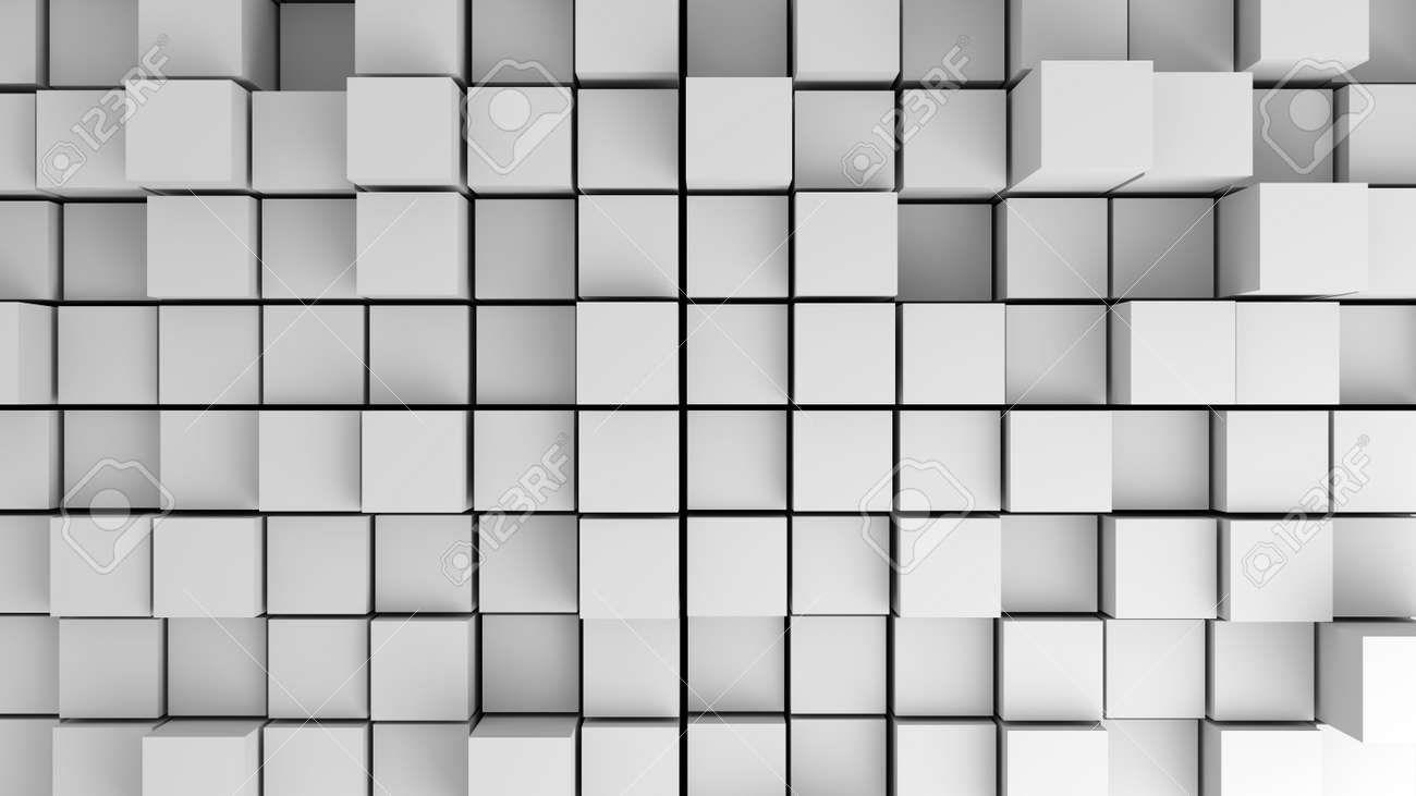 Abstract Image Of White Cubes With Different Heights From Above ...
