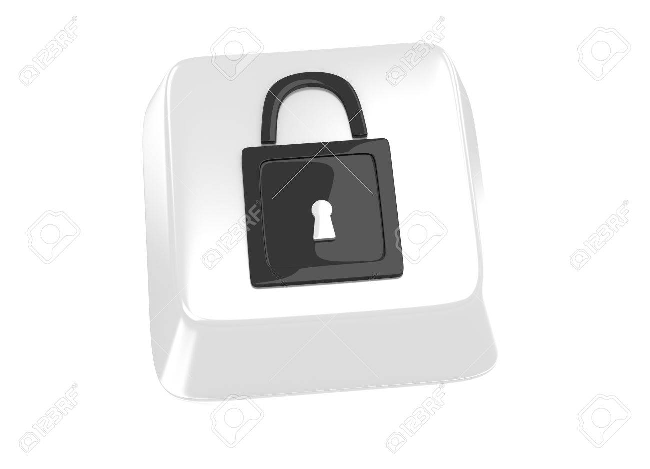 Lock icon in black on white computer key  3d illustration Stock Illustration - 15598377