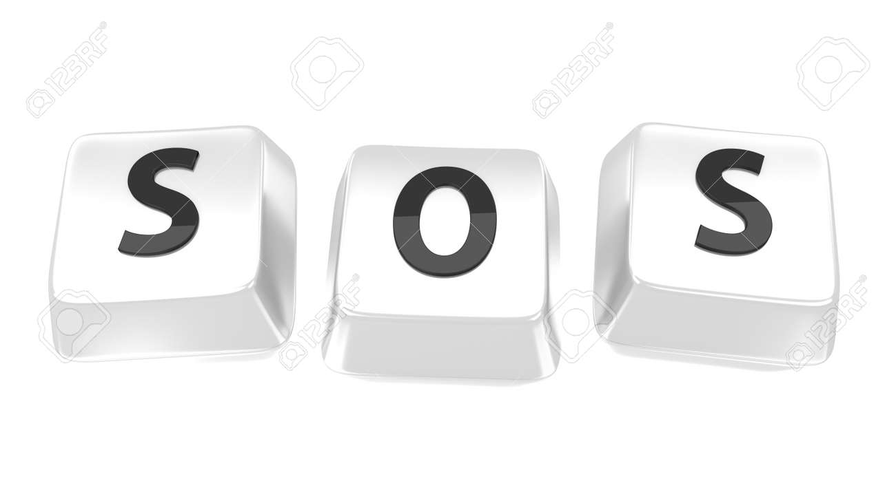 SOS written in black on white computer keys  Isolated background Stock Photo - 15598371
