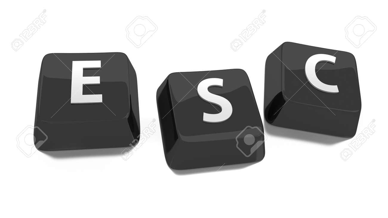 ESC written in white on black computer keys  3d illustration  Isolated background Stock Illustration - 16441513