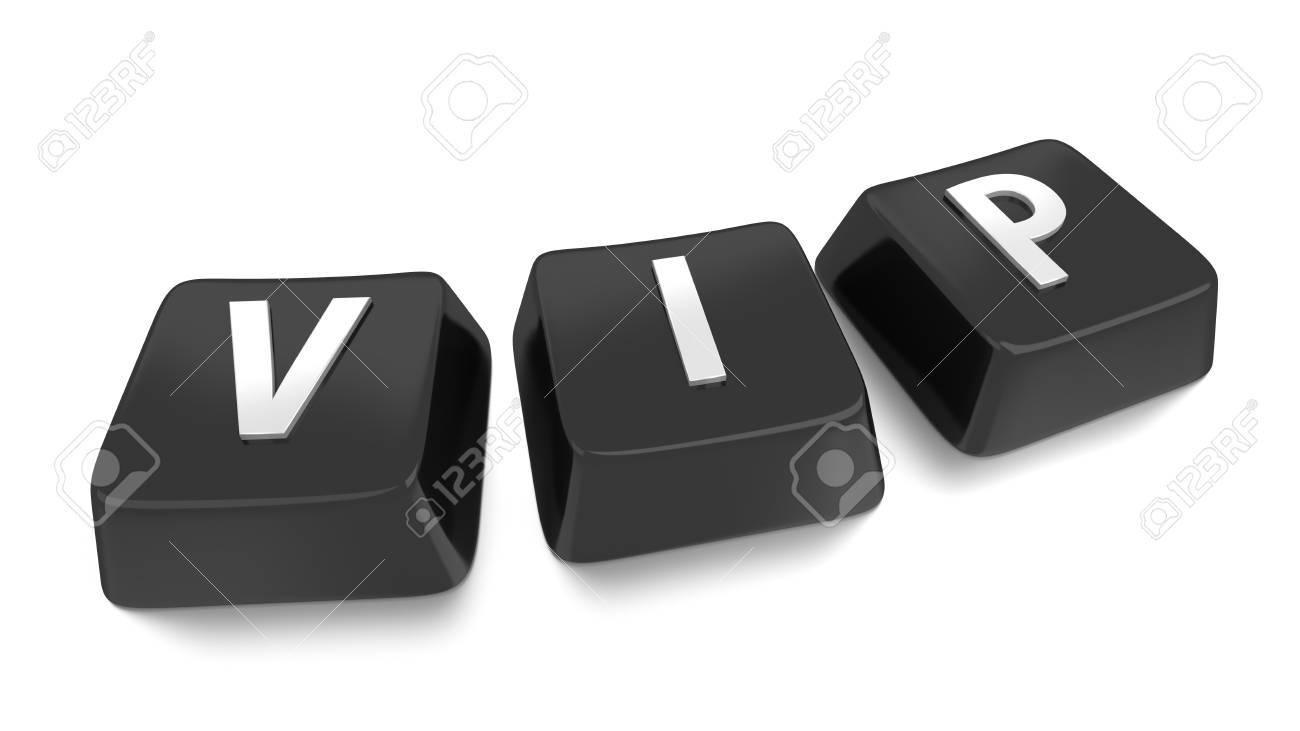 VIP written in white on black computer keys  3d illustration  Isolated background Stock Photo - 16441517