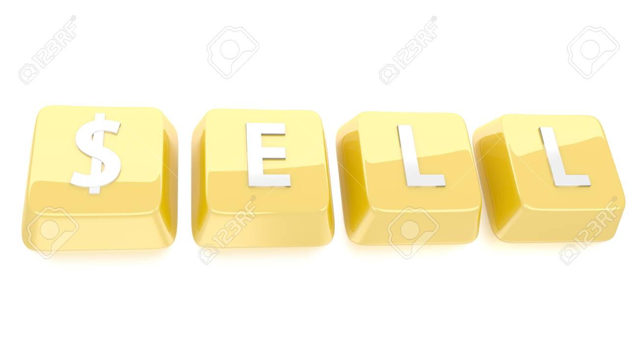 SELL written in white on golden computer keys  3d illustration  Isolated background Stock Photo - 16464559