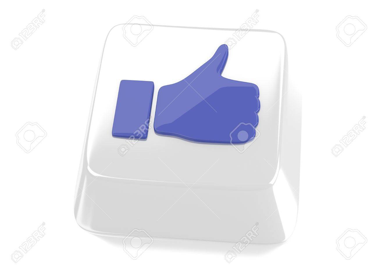 Thumb up icon in blue on white computer key  3d illustration  Isolated background Stock Illustration - 16493457