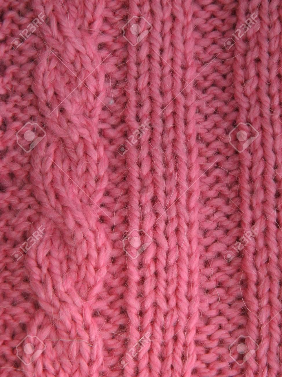 Patrón De Hilo De Punto De Color Rosa. Faciales Y Puntilla Bucles ...