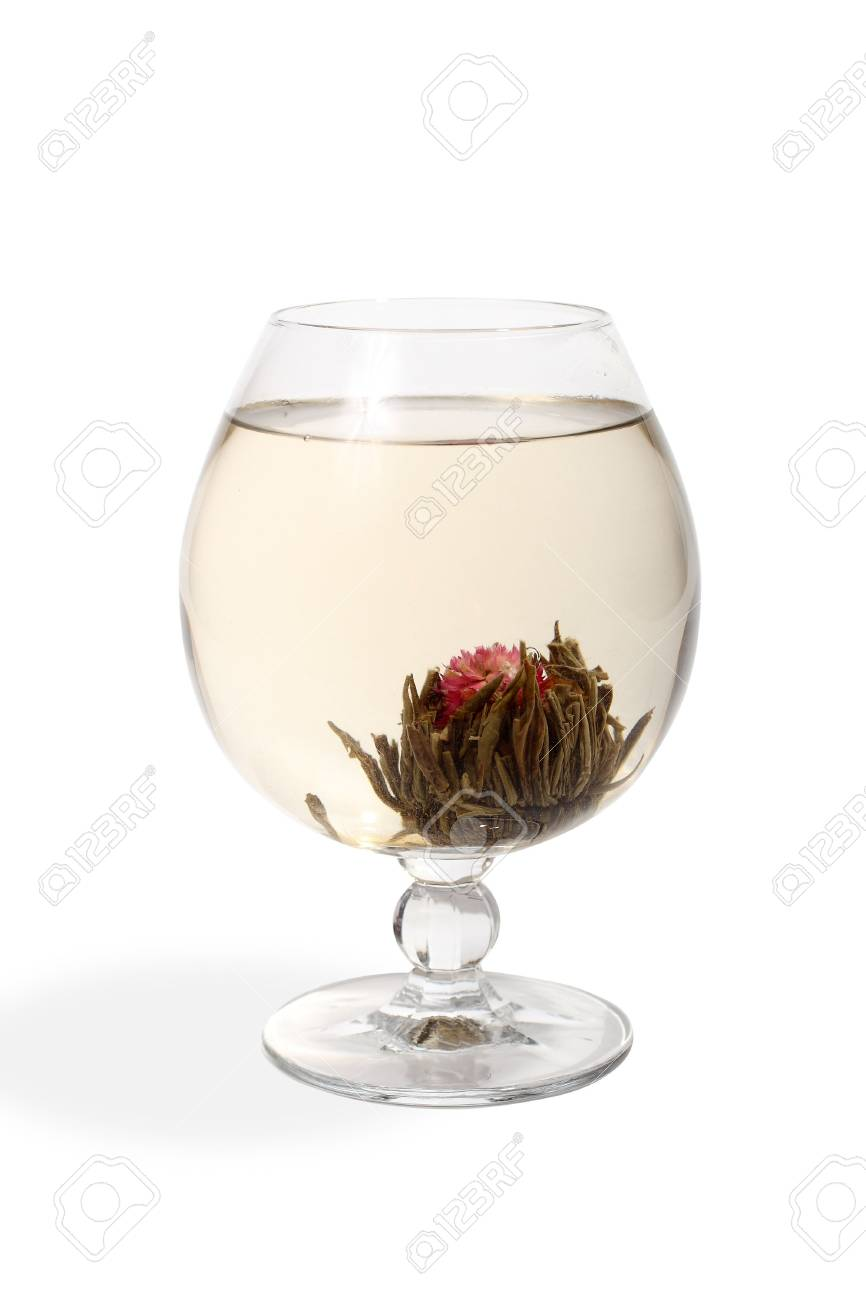 Glass with a flower green tea on white background Stock Photo - 2744384