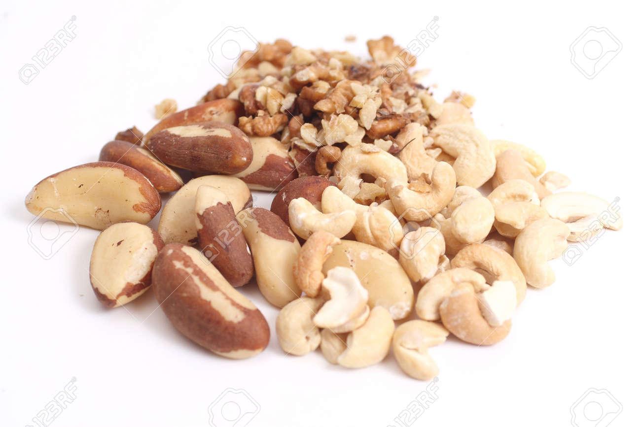 Mix of dry nuts Brazil nuts, Walnut and Cashew Stock Photo - 3938497