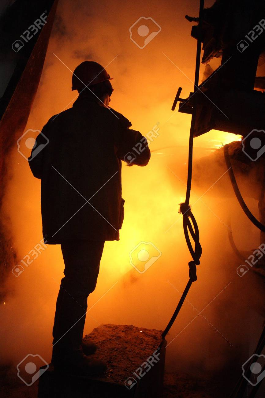 Hot work of steel maker in helmet Stock Photo - 4555245