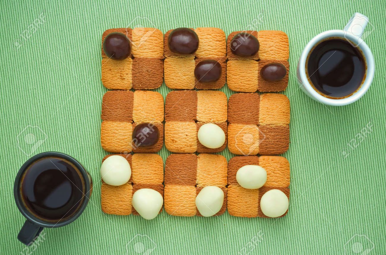 Sweet Checkers Of Biscuits And Chocolate Drop, Two Coffee Cup ...