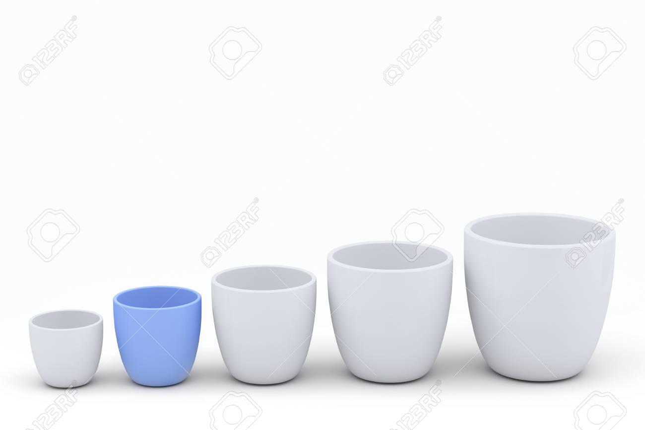 Bleu Et Blanc En Ceramique Pot De Fleurs Mis Avec Copie Espace Les