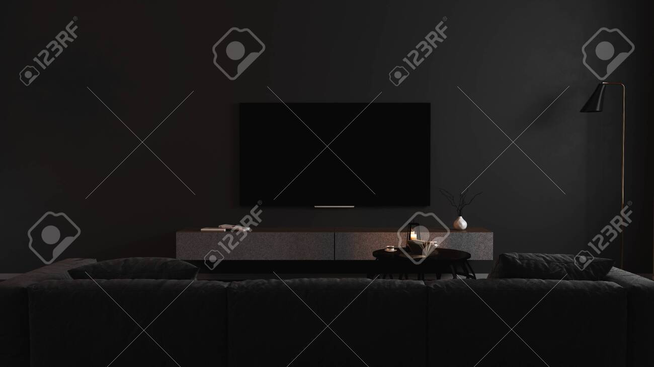 Blank TV screen in modern dark interior with gray sofa in darkness mock up, front view. TV in living room interior background, empty TV display template, 3d render - 154926342