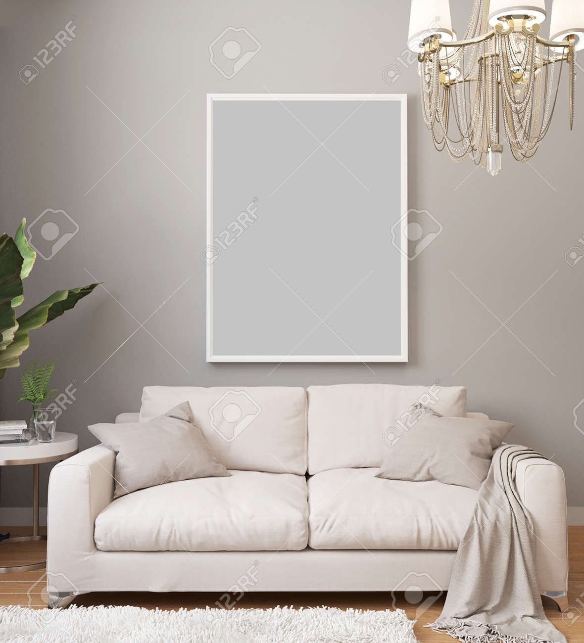 Poster mockup in white frame on light wall in classic luxury interior with chandelier and white sofa, plants. Modern light interior design with blanket picture. 3d rendering. - 155406357