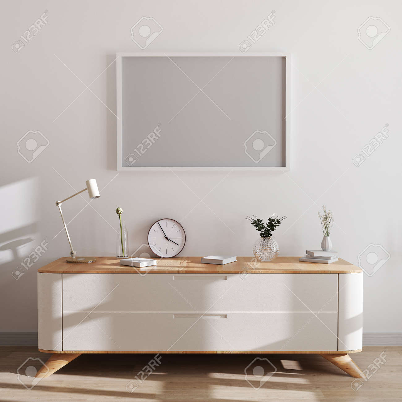 Horizontal frame mockup in modern interior background. Empty frames above white chest of drawers with beautiful decor. Scandinavian style, frame mockup, 3d rendering - 155406359