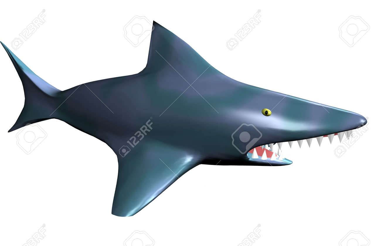 Isolated angry shark 3d Stock Photo - 17204189